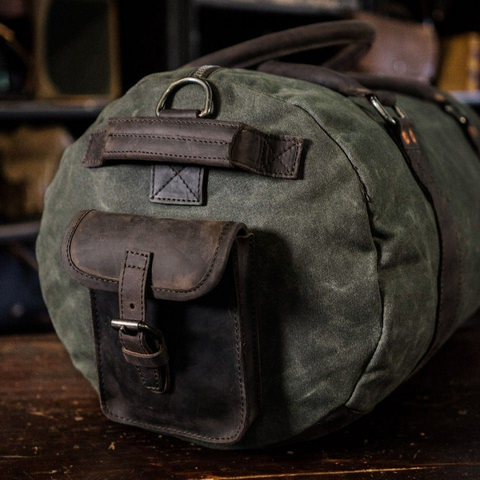 e94589ea40 Travel Duffle Bag for Men - Green Canvas   Walnut Leather