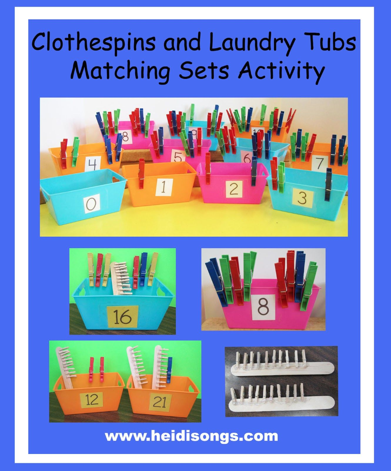 Clothespins And Laundry Tubs Matching Sets Activity