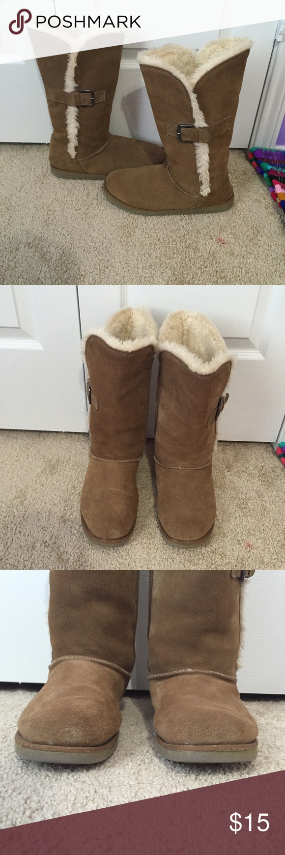 Winter fur boots Tan, cream colored fur, buckles on the side, size 9, and price is negotiable Shoes Winter & Rain Boots