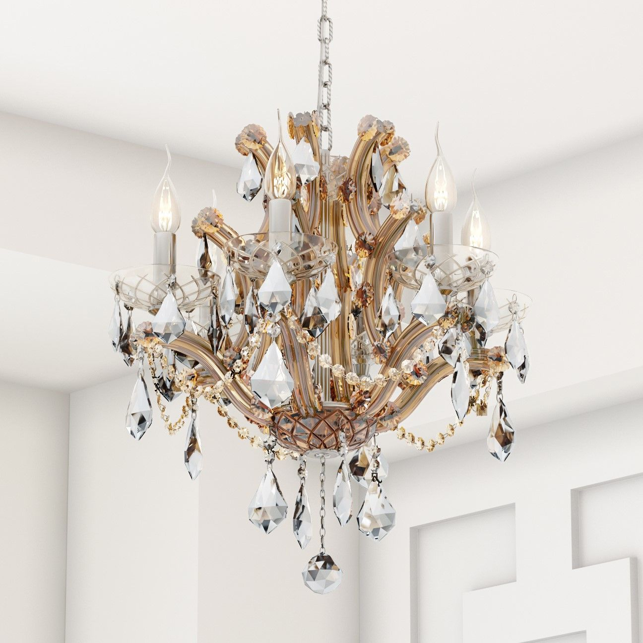 Maria Theresa 6 Light Crystal Chrome Chandelier