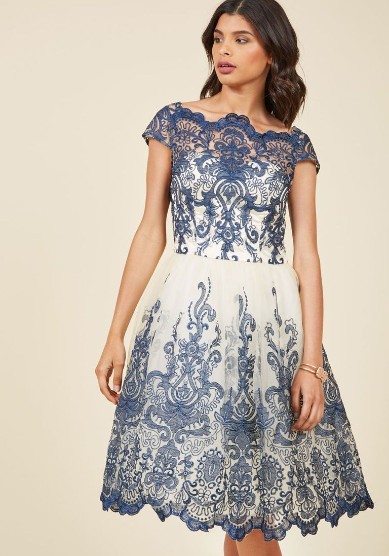 a53ea0365c7 Chi Chi London Exquisite Elegance Lace Dress in Navy in 6 - Cap Fit   Flare Knee  Length - Plus Sizes Available