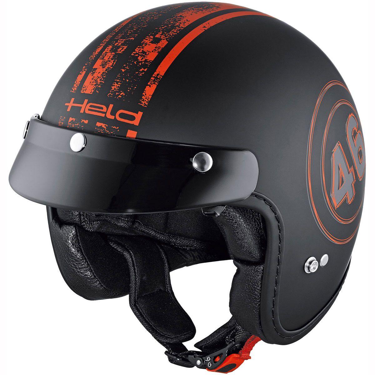 Held Helmet Black Bob 7540 Black Red Helmet, Black bob