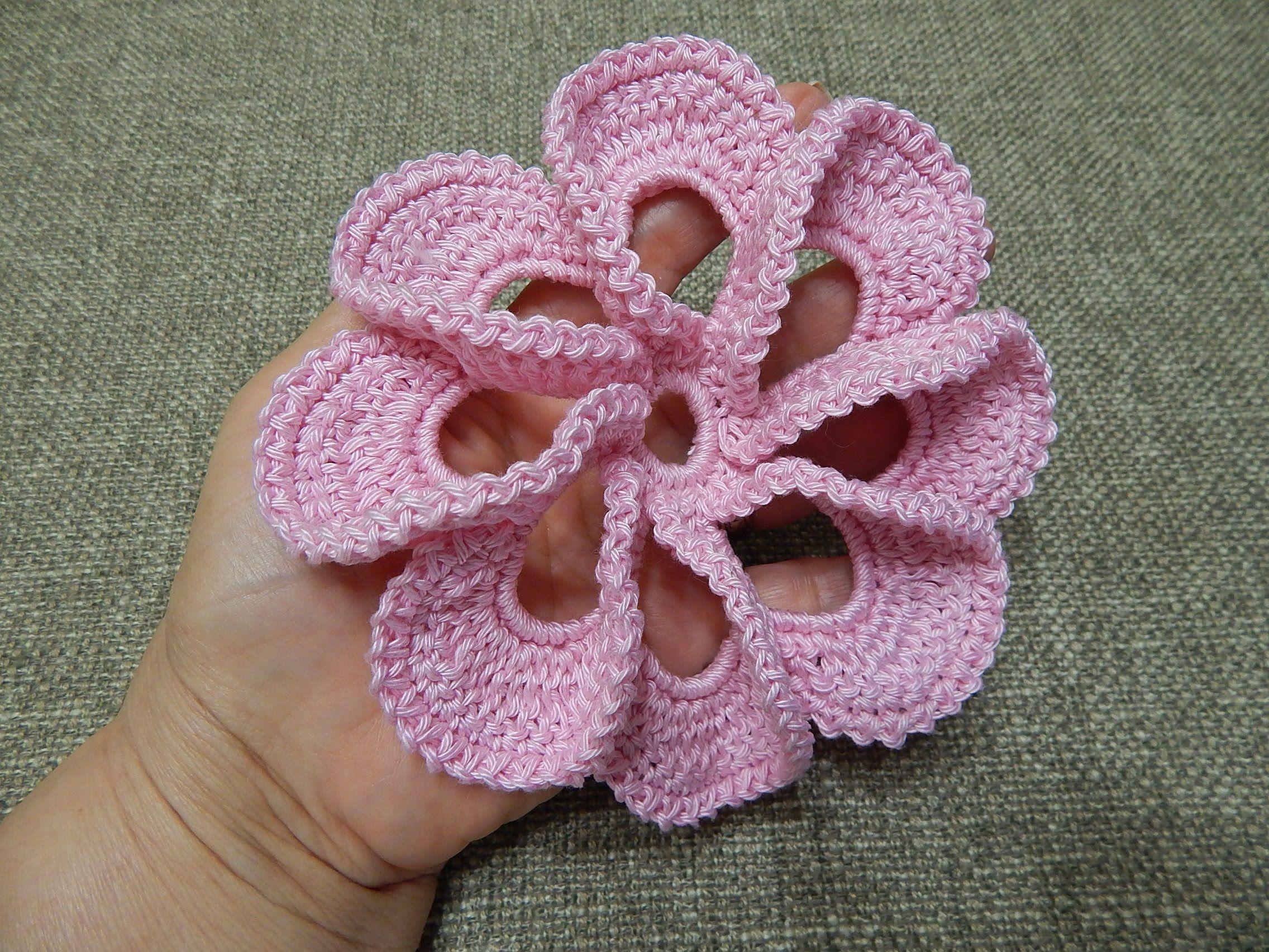 Flor # 12 Pétalos 3D Crochet | FLORES Y HOJAS {crochet} | Pinterest ...