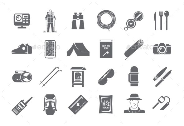 Hiking Black and White Icons
