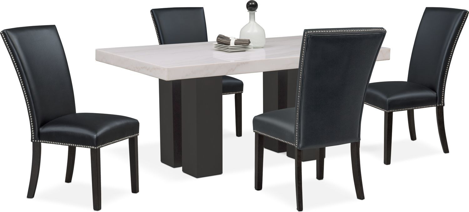 Stupendous Artemis Dining Table And 4 Upholstered Side Chairs Gmtry Best Dining Table And Chair Ideas Images Gmtryco