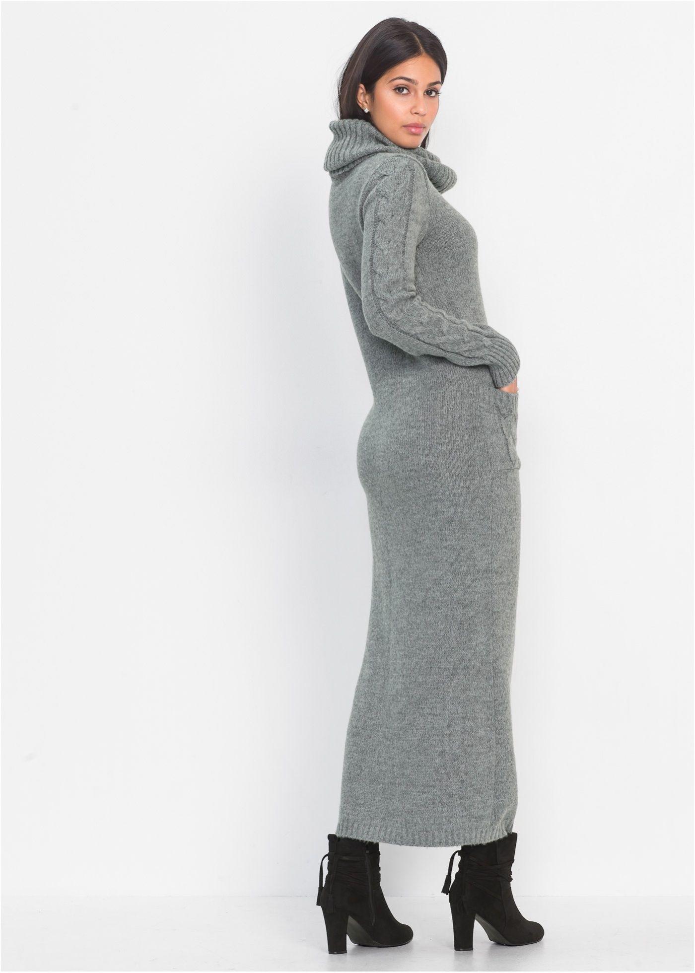 35214d66878994 Gebreide jurk grijs gemêleerd nu in de onlineshop van bonprix.nl vanaf   39.99  bestellen. Een klassieker voor koude dagen! Gebreide jurk in …