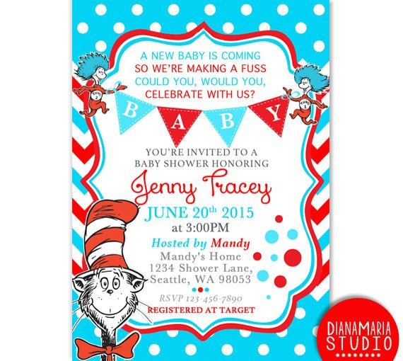 Awesome FREE dr.Seuss Baby Shower Invitation - PSD Template