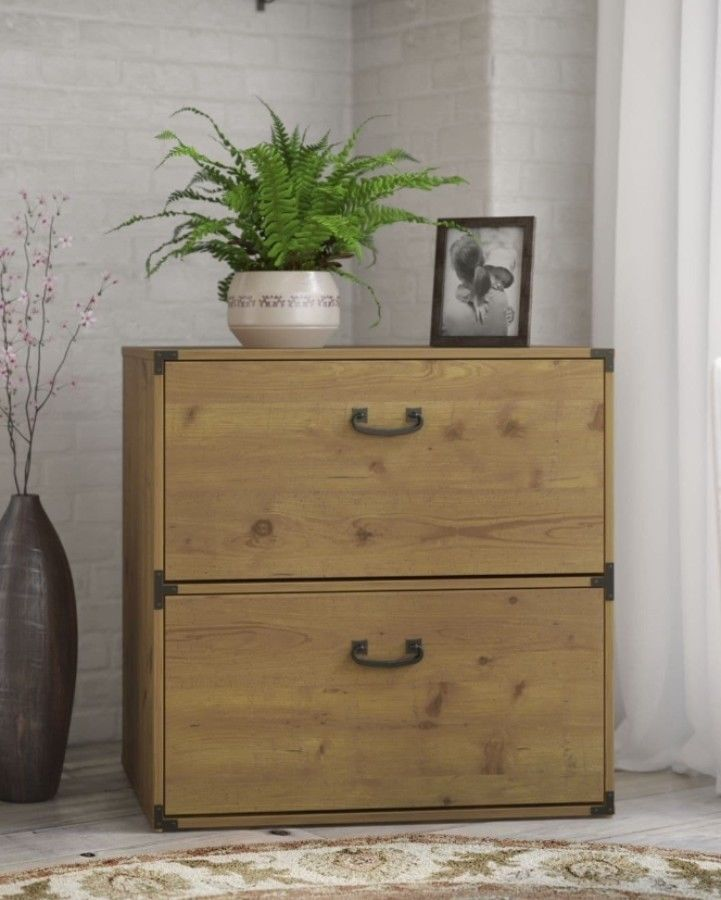Two Drawer Lateral File Cabinet Vintage Golden Pine Finish Home Office New