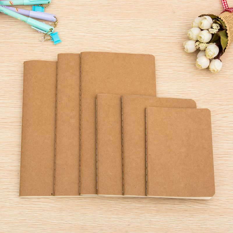 1pcs cowhide paper notebook blank notepad book vintage soft - blank memo
