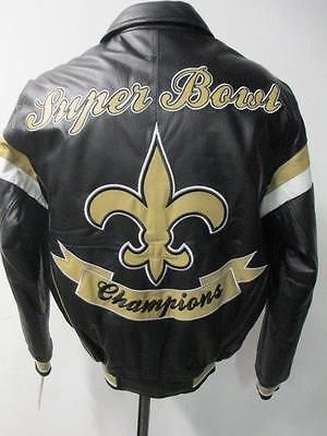 be4cf0bd2 New Orleans Saints Mens S Full Leather Super Bowl XLIV Champions Jacket NOS  37