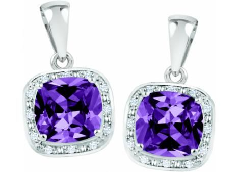 STERLING SILVER AMETHYST & CUBIC ZIRCONIA FEBRUARY BIRTHSTONE Earrings