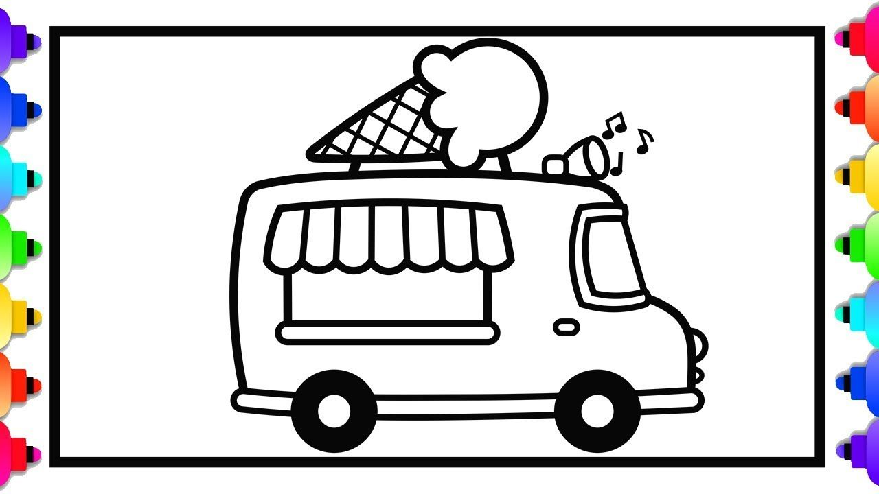 Glitter Toy Ice Cream Truck Drawing And Coloring Learn To Draw Ice Cr Ice Cream Truck Doodle Art For Beginners Truck Coloring Pages