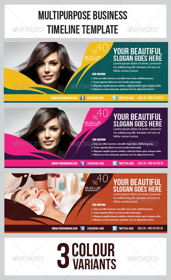 Hair \ Beauty Salon Banner Timeline Template Template, Web - sample advertising timeline