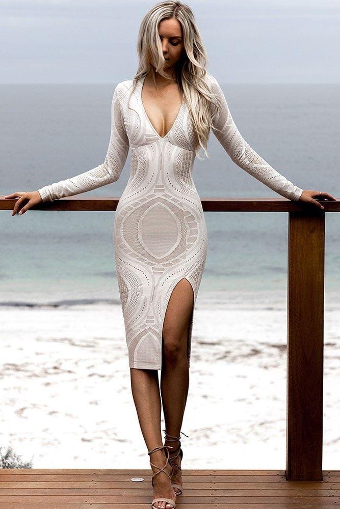 Lace Long Sleeve Deep V Neck Midi Bodycon Dress