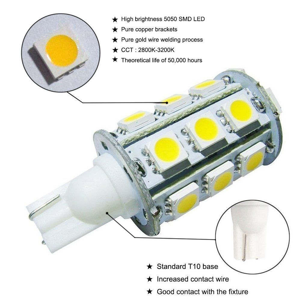 Grv T10 921 194 245050 Smd Led Bulb Lamp Super Bright Warm White Dc 12v Pack Of 6 Look Into The Picture By Seeing The Web Link T Led Bulb Bulb Light Bulb