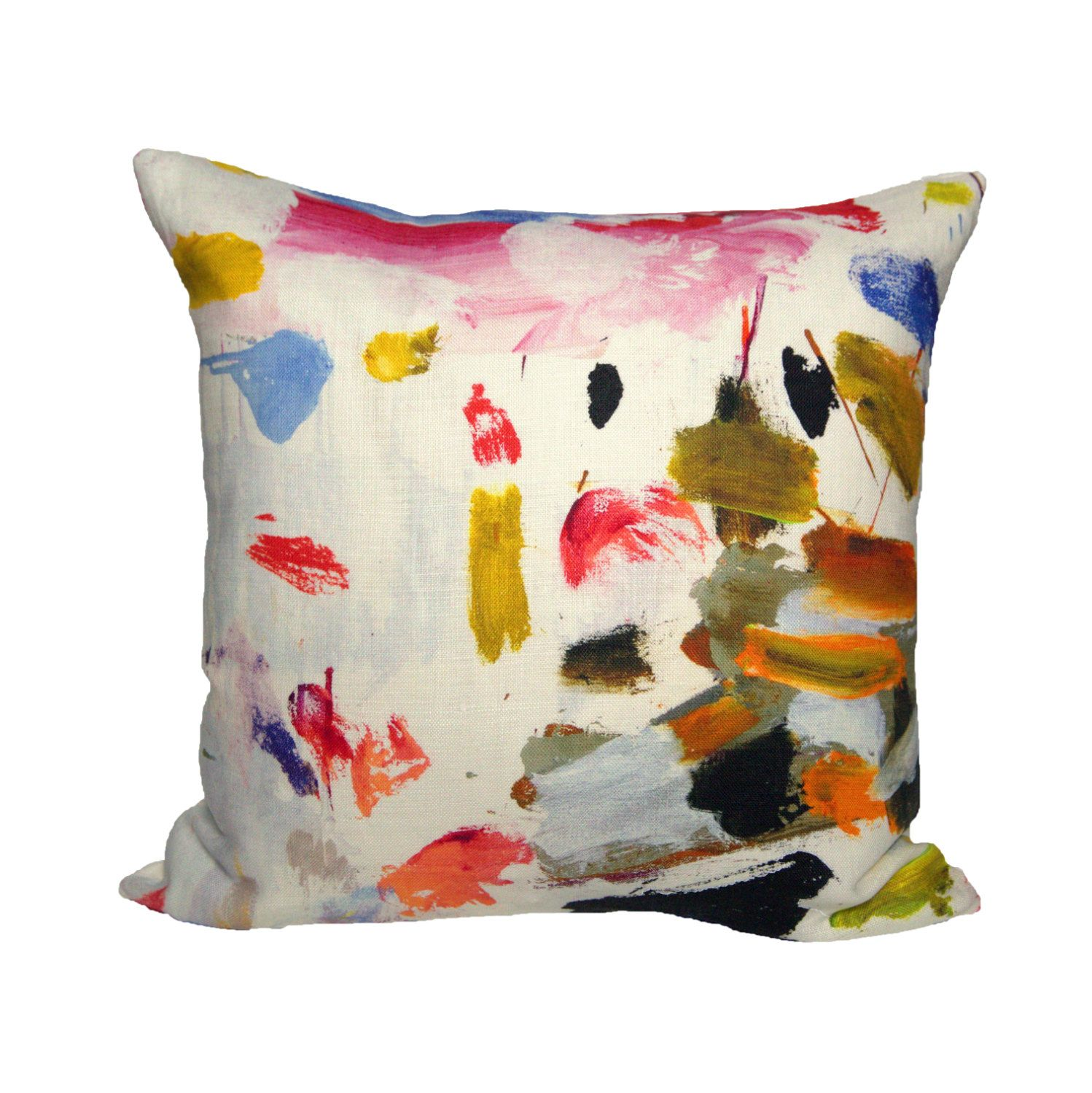 """""""Lately, I've been eyeing these playful throw pillows in @pierrefrey's new """"Arty"""" linen. The vibrant brushstroke pattern was designed by French artist Marie-cécile Aptel"""" - @katiearmour, read more on The NeoTrad"""