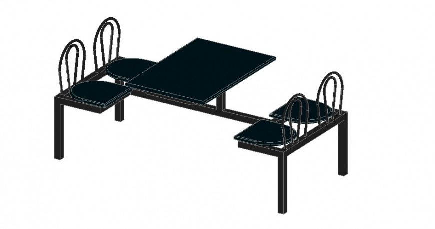 Dining area furniture detailing bench dwg file
