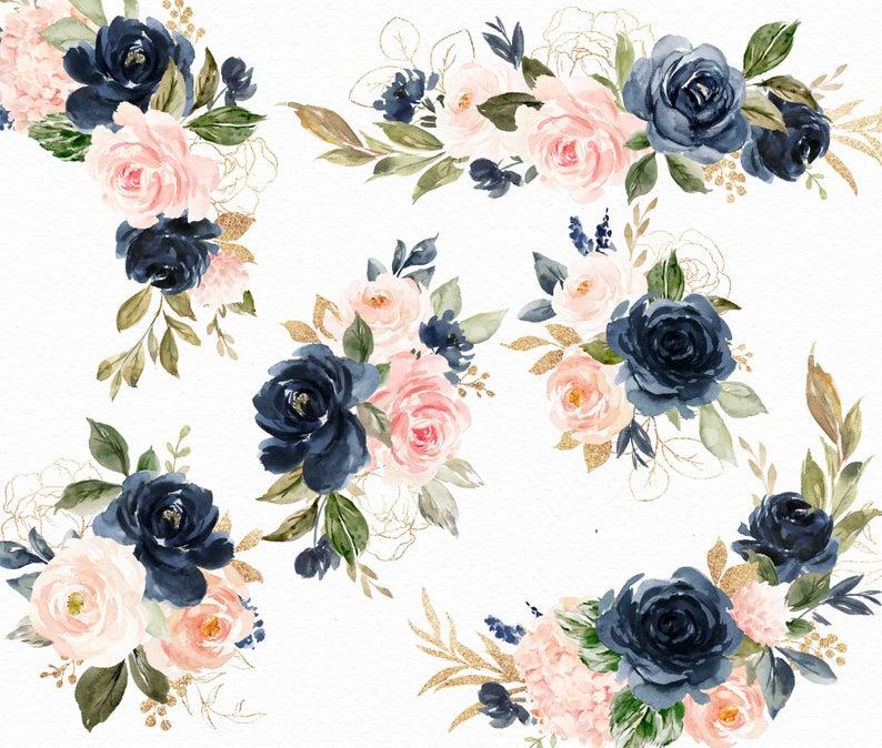 Watercolor Floral Clip Art Navy Blush Small Etsy Convite De Casamento Convites Aquarela Convite Padrinhos Casamento