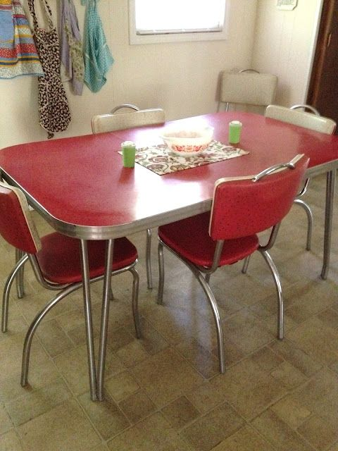 Style Kitchen Table Red And Chrome