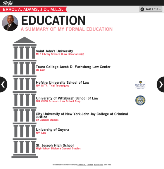 Education Visualization Errol A Adams J D M L S Infographic Resume Library Science Education
