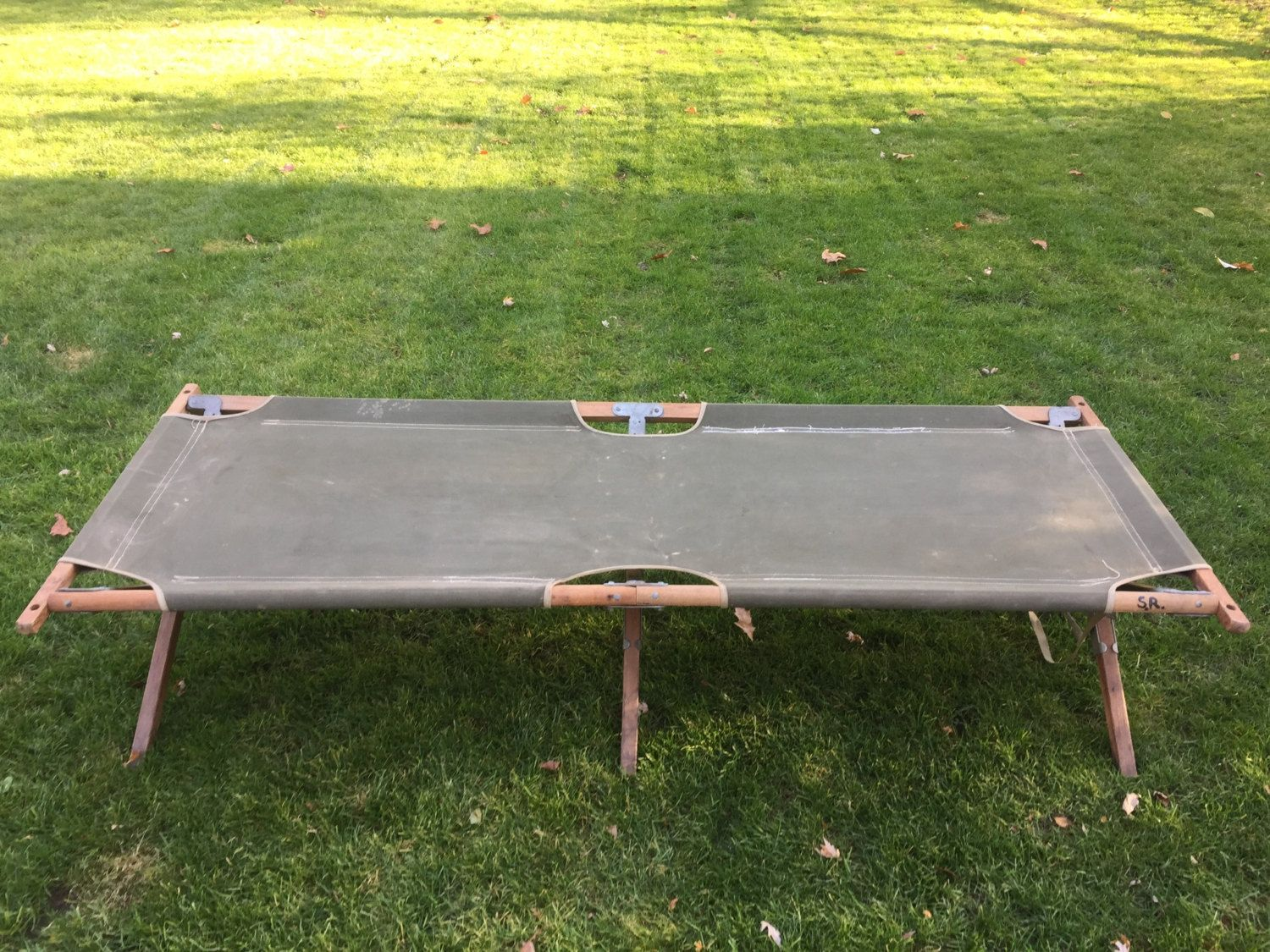 This Is A Great Vintage Army/Military Canvas And Wood Folding Cot. This  Portable
