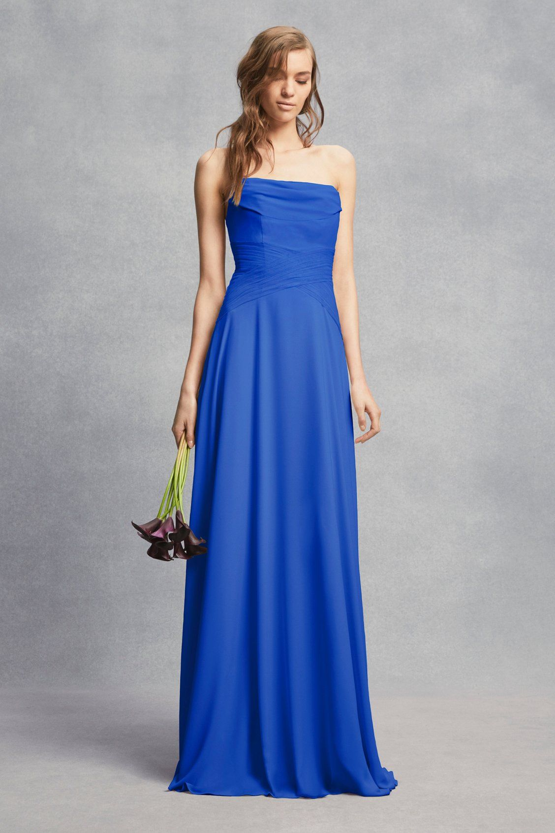 5e6eab3f55 Strapless Georgette Sheath Bridesmaid Dress