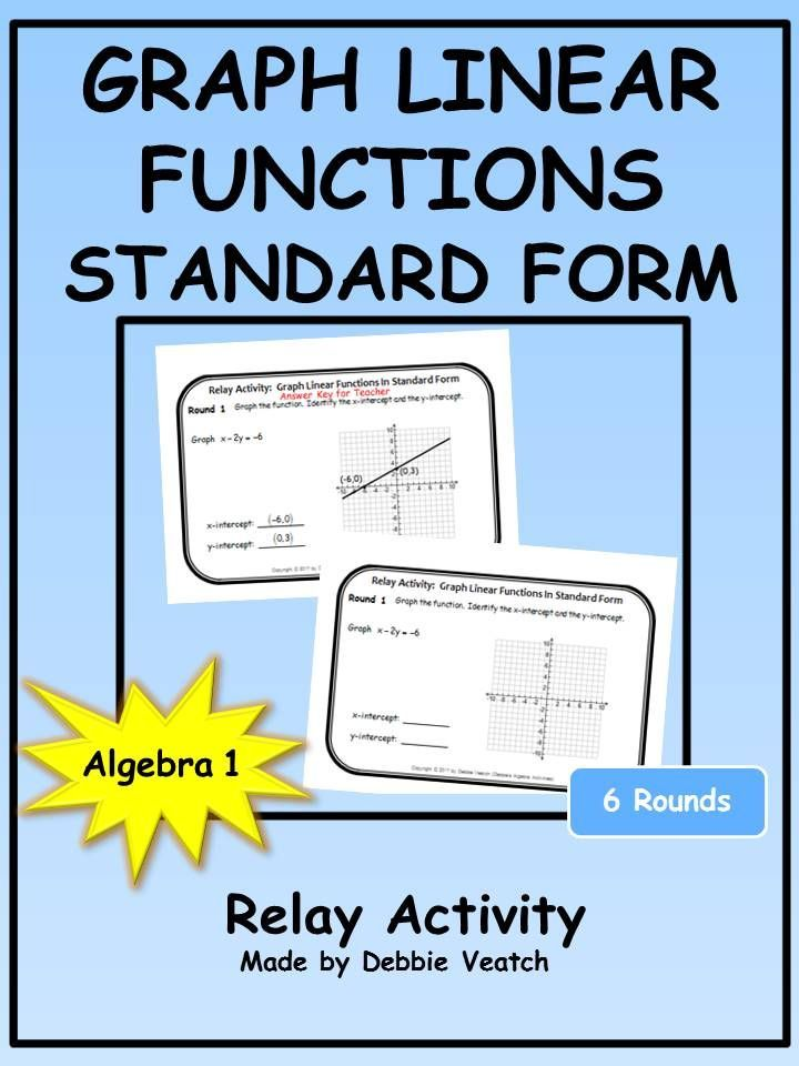 Graph Linear Functions In Standard Form Relay Activity Linear