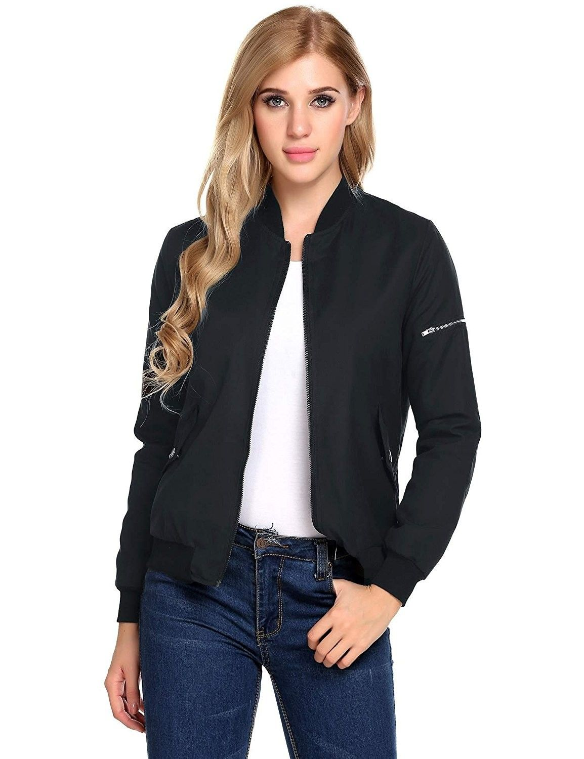 86901f22b Women Classic Lightweight Solid Jacket Zip Up Bomber Jacket Coat ...