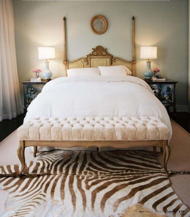 Chic Bedroom With Zebra Print Rug