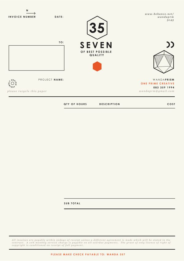 Self promotion { Graphic Designer } on Behance in Invoice Creative