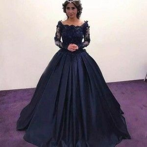 Summer Fall Navy Blue Long Sleeve Prom Dresses Bateau Lace Satin masquerade Ball Gown African Evening Formal Dress vestidos Plus Size High Quality #masqueradeballgowns DRESS on Storenvy #masqueradeballgowns