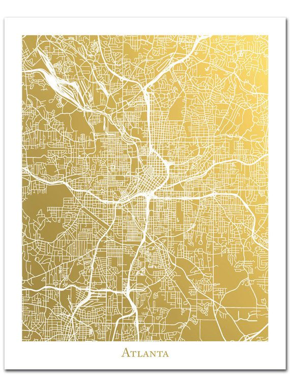 Atlanta Map, Atlanta Art, Atlanta Print, Gold Foil Map™ of Atlanta ...