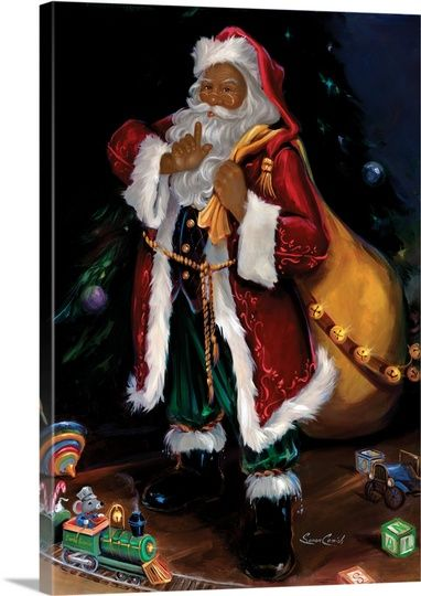 African American Santa Wall Art Canvas Prints Framed Prints Wall Peels Christmas Prints Santa Claus Pictures Christmas Art