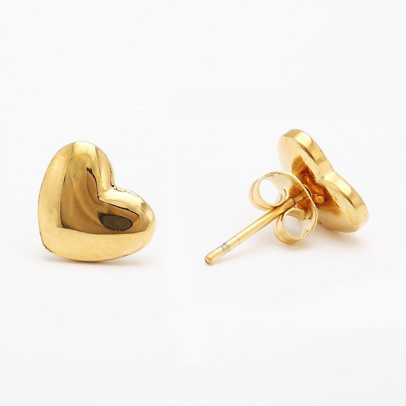 Corazón Aretes Oro Dorado para Mujer | aretes | Pinterest