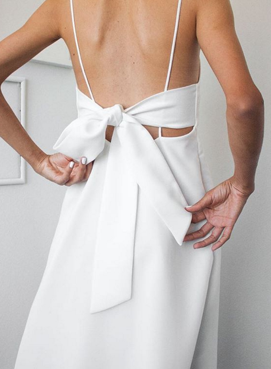White Tie Back Dress