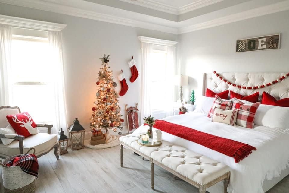 31 Festive Minimalist Christmas Bedroom Ideas Lady Decluttered In 2021 Remodel Bedroom Master Bedrooms Decor Farmhouse Bedroom Decor