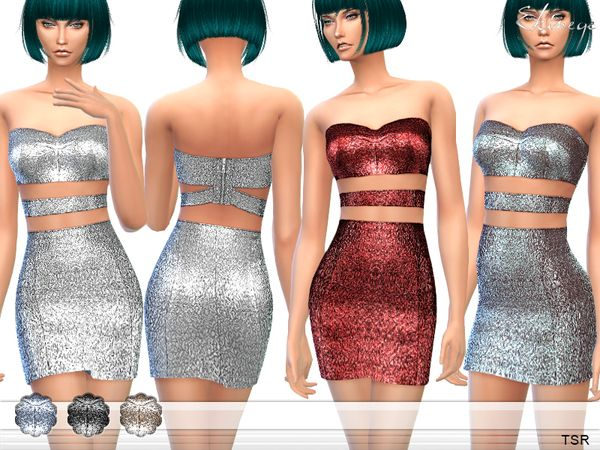 The Sims Resource: Metallic Two Piece Cut Out Dress by Ekinege • Sims 4 Downloads