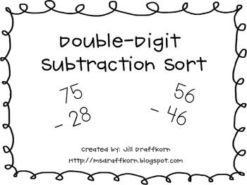 double digit subtraction sort addition subtraction multi digit math subtraction math. Black Bedroom Furniture Sets. Home Design Ideas