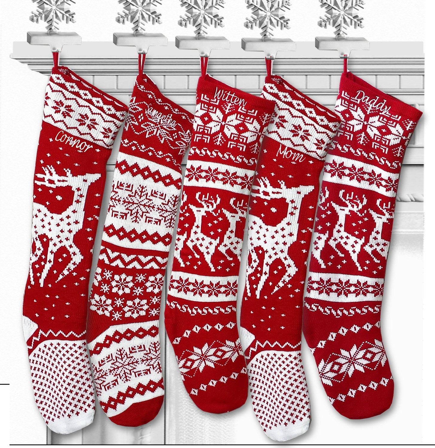Knit Christmas Stockings - Red White - Renindeer or Snowflake Design Scandinavian Nordic Modern Holiday Theme (25.95 USD) by eugenie2