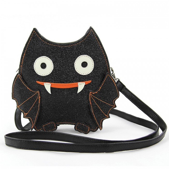 Cross Body Glitter Bat Faux Leather Bat Purse #zippertop