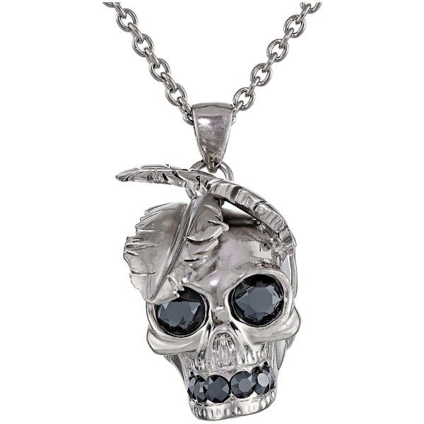 Alexander McQueen Feather Skull Pendant Necklace, Silver ($285) ❤ liked on…