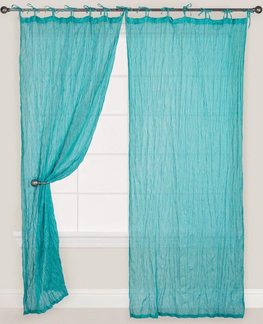 Porcelain Crinkle Voile Curtain Aqua In 2019 Voile Curtains Curtains Cotton Curtains