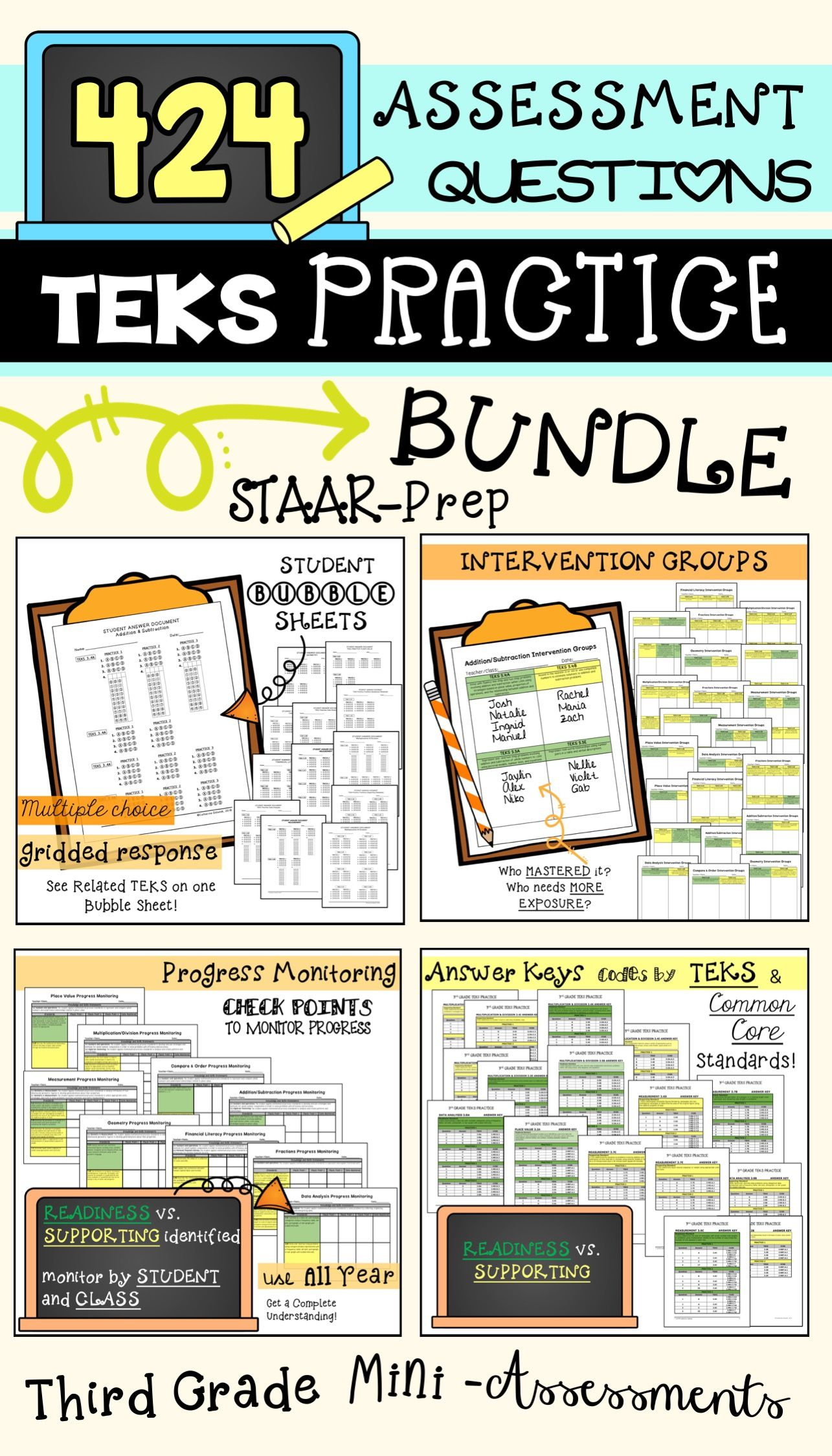 3rd Grade Math Teks Practice Progress Monitoring Bundle