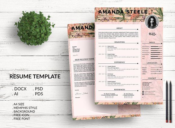 Flamingo CV \/ Resume Template \/ N by Showy68 Template on - corporate resume template