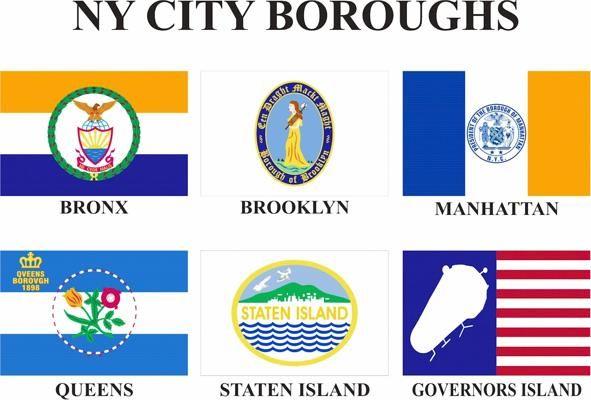 Nyc Borough Flags Ny City City Maps Flag