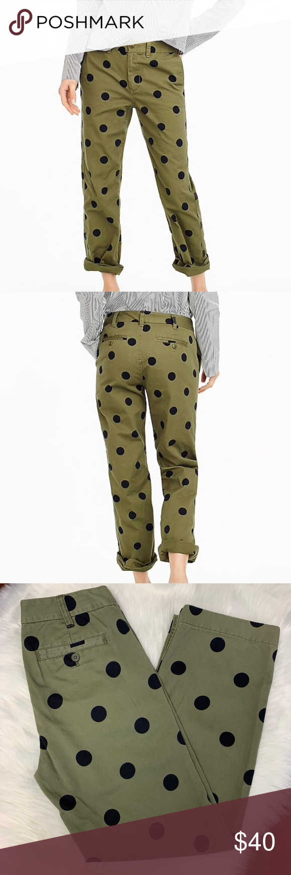 37fa194c81bbd J Crew Boyfriend Chino Pant in Polka Dots J Crew boyfriend chino pant in  polka dots, green with black dots, size 2 petite, aprox. measurements in  pictures, ...