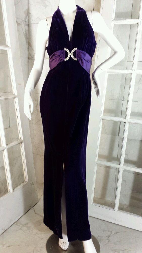 0c145020c0e Vintage 70s Deep Amethyst Velvet Evening Dress Satin Rhinestone Accent Sash