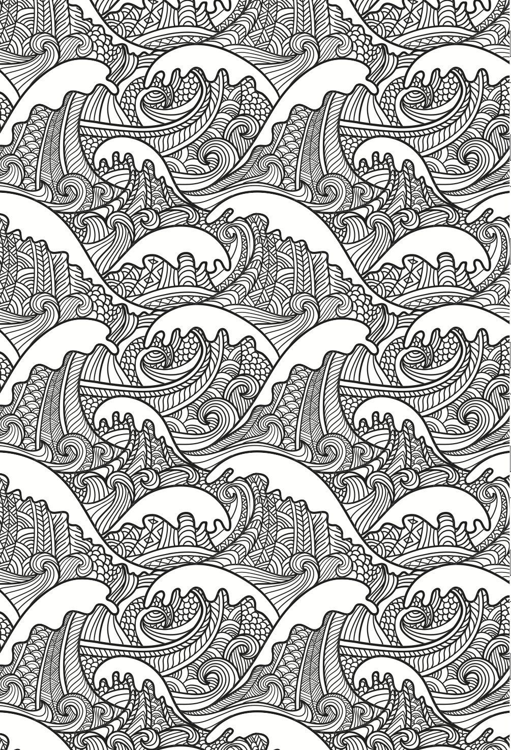 Beautiful Waves Colouring Page In An Artistic Japanese Style Grown Up