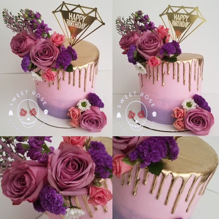 Pink Purple Gold Drip Cake With Images Purple Cakes Birthday