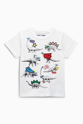 0aa453b8 Buy White Short Sleeve Photographic Dinosaur T-Shirt (3mths-6yrs) from the Next  UK online shop